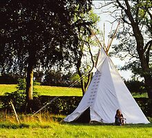 Joann in front of her homemade tipi by Jens Didriksen