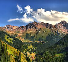 Mountain landscape, Tien Shan,   Central Asia by Medeu