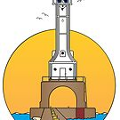 Lighthouse Port W Cartoon by Graphxpro