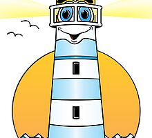 Lighthouse Cartoon Blue by Graphxpro