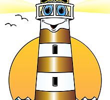 Lighthouse Cartoon Gold White by Graphxpro