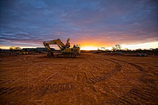 PC1250 Excavator - Sunset At Emu Flats WA by Chris Paddick