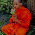 Cambodian Monk with Lotus by GayeL Art