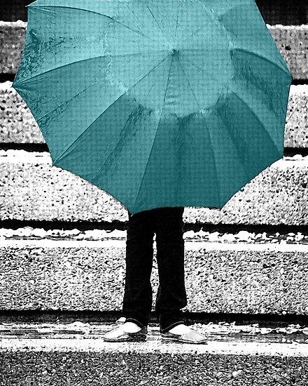 Tiffany Blue Umbrella by Lisa Knechtel