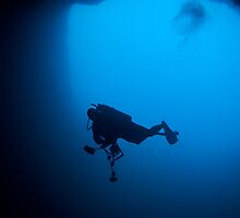 Photographer in Lost Blue Hole, Nassau, Bahamas by Shane Pinder