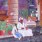Santera in the cathedral square in Havana, Cuba by Elena Malec