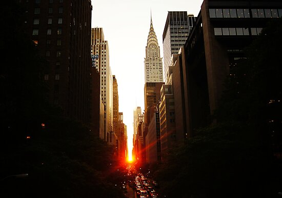 Manhattanhenge Sunset Looking Down 42nd Street by Vivienne Gucwa