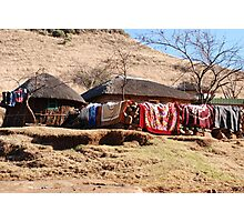 drying the washing, lesotho Photographic Print