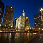 Wrigley building and the Chicago river at dusk by Sven Brogren