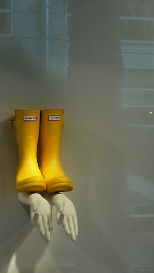 A Store Window in Portland with Yellow Hunter Wellies and Two Left hands by MarkBigelow
