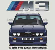 BMW E30 M3 25th Anniversary (Macau Blue) Black Text by Sharknose