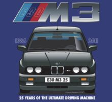 BMW E30 M3 25th Anniversary (Diamond Black) White Text by Sharknose