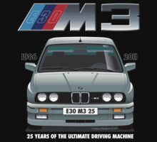 BMW E30 M3 25th Anniversary (Dolphin Grey) White Text by Sharknose