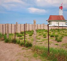 Lifeguard Hut Seen through Fence by Gerda Grice