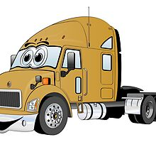 Semi Truck Gold Cartoon by Graphxpro