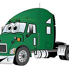 Semi Truck Green Cartoon by Graphxpro