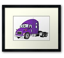 Semi Truck Purple Cartoon Framed Print