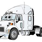 Semi Truck White Cartoon by Graphxpro