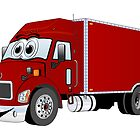 Container Truck Red Cartoon by Graphxpro