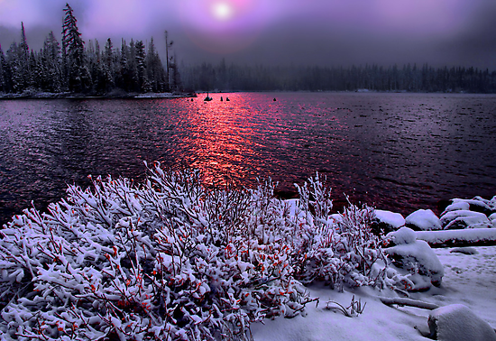 Big Lake Snow Storm by Charles & Patricia   Harkins ~ Picture Oregon