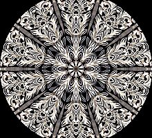 Black & White Scroll Kaleidoscope 02 by fantasytripp