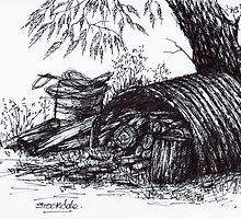 Wood Pile Sketch by Margaret Stockdale