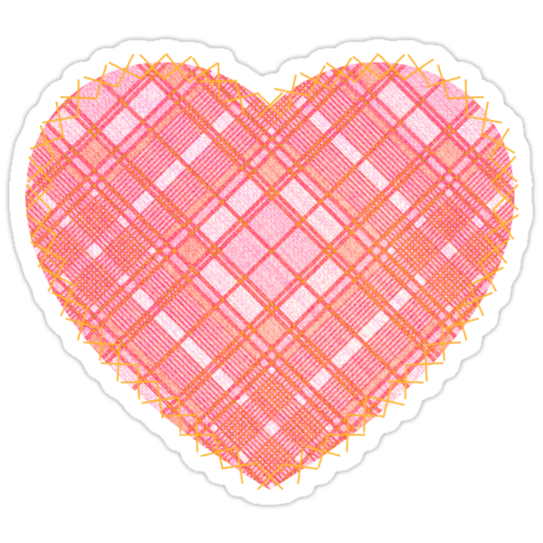 Faded Pink Tartan Heart by Chuffy