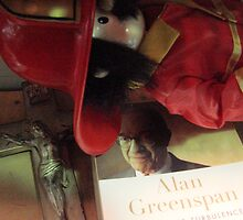 Crucifix, Greenspan, Toy Fireman, Thrift Store Misc. shelf by Timothy Wilkendorf