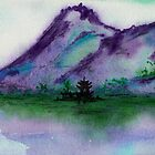 Fishing at Dawn - Chinese Landscape Sumi-e by Brazen Edwards-Hager