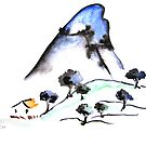 Chinest Hut - Landscape Sumi-e by Brazen Edwards-Hager