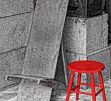 RED STOOL - GREY GRANITE by RGHunt