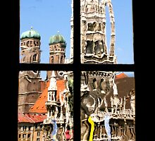 Munich's City Hall and church towers by Laurel Eby