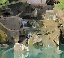 Waterfall - Japanese Garden by ©Josephine Caruana