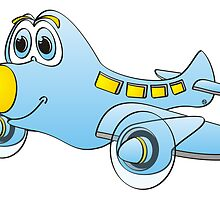 Blue Yellow Nose Airplane Cartoon by Graphxpro