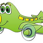 Green Yellow Nose Airplane Cartoon by Graphxpro
