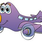 Purple Orange Nose Airplane Cartoon by Graphxpro
