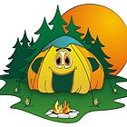 Camping Tent Cartoon by Graphxpro