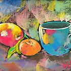 still life with mandarine and apple by Elena Malec