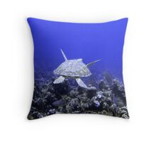 Green Turtle Swimming Throw Pillow