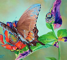 """Butterfly and Bud"" - Swallowtail Butterfly on Zennia by Rainelle  Meridith"