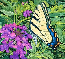 """Swallowtail on Verbena"" - Summer Flower Garden by Rainelle  Meridith"