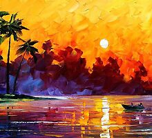 Tropical Harbor - oil on canvas by Leonid Afremov by Leonid  Afremov