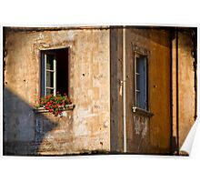 Window with geraniums Poster