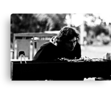 Working the Grill. Canvas Print
