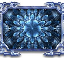 Ice Flower in Blue Glass Frame by wolfepaw