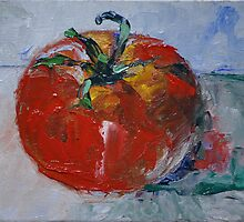 """Ripen Tomato"" - 4"" x 6"" original oil painting by Magaly Burton by Magaly Burton"