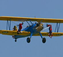 The Stearman Wingwalkers hanging upside down by Henry Plumley