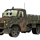 Military Flatbed Truck Cartoon by Graphxpro