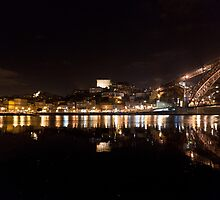 Night at Oporto's Douro Riverside, Portugal by Helder Ferreira