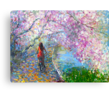 Blossom Alley Landscape woman on a bike Impressionistic Painting Svetlana Novikova Canvas Print